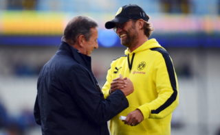 BRUGGE, BELGIUM - JULY 14:  Head coach Juergen Klopp of Dortmund is seen with head coach Georges Leekens of Brugge during a friendly match between Club Brugge KV and Borussia Dortmund at Jan Breydel Stadium on July 14, 2012 in Brugge, Belgium.  (Photo by Lars Baron/Bongarts/Getty Images,)