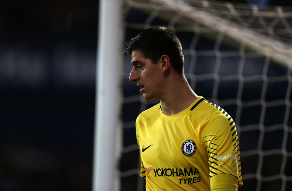 WEST BROMWICH, ENGLAND - NOVEMBER 18: Chelsea goalkeeper Thibaut Courtois during the Premier League match between West Bromwich Albion and Chelsea at The Hawthorns on November 18, 2017 in West Bromwich, England. (Photo by Catherine Ivill/Getty Images)