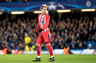 """LONDON,ENGLAND - DECEMBER 05: Atletico Madrid (7) Antoine Griezmann during the UEFA Champions League group C match between Chelsea FC and Atletico Madrid at Stamford Bridge on December 5, 2017 in London, United Kingdom.  """"n( Photo by Sebastian Frej / MB Media )"""