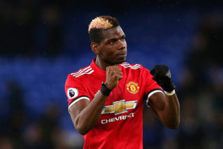 LIVERPOOL, ENGLAND - JANUARY 01:  Paul Pogba of Manchester United celebrates victory during the Premier League match between Everton and Manchester United at Goodison Park on January 1, 2018 in Liverpool, England.  (Photo by Jan Kruger/Getty Images)