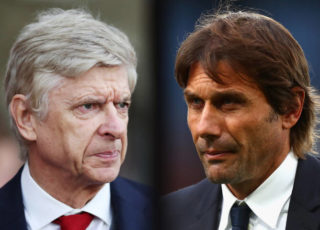 FILE PHOTO (EDITORS NOTE: GRADIENT ADDED - COMPOSITE OF TWO IMAGES - Image numbers (L) 889346808 and 861285074) In this composite image a comparision has been made between Arsene Wenger, Manager of Arsenal (L) and Antonio Conte, Manager of Chelsea.  Arsenal and  Chelsea meet in a Premier League match on January 3, 2017 at the Emirates Stadium in London,England.    ***LEFT IMAGE*** SOUTHAMPTON, ENGLAND - DECEMBER 10: Arsene Wenger, Manager of Arsenal looks on during the Premier League match between Southampton and Arsenal at St Mary's Stadium on December 10, 2017 in Southampton, England. (Photo by Catherine Ivill/Getty Images) ***RIGHT IMAGE*** LONDON, ENGLAND - OCTOBER 14: Antonio Conte, Manager of Chelsea looks dejected after the Premier League match between Crystal Palace and Chelsea at Selhurst Park on October 14, 2017 in London, England. (Photo by Clive Rose/Getty Images)