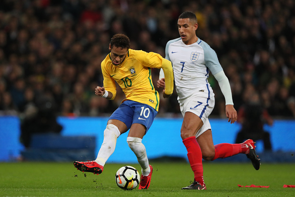 LONDON, ENGLAND - NOVEMBER 14:  Neymar of Brazil in action during  the international friendly match between England and Brazil at Wembley Stadium on November 14, 2017 in London, England. (Photo by Matthew Ashton - AMA/Getty Images)