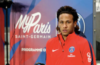 PARIS, FRANCE - JANUARY 17:  Neymar Jr of Paris Saint-Germain reacts during the Ligue 1 match between Paris Saint-Germain and Dijon FCO at Parc des Princes on January 17, 2018 in Paris.  (Photo by Xavier Laine/Getty Images )