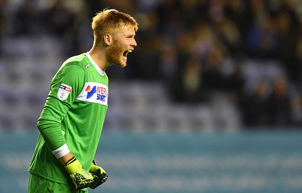 WIGAN, ENGLAND - SEPTEMBER 27: Adam Bogdan of Wigan Athletic during the Sky Bet Championship match between Wigan Athletic and Wolverhampton Wanderers at DW Stadium on September 27, 2016 in Wigan, England. (Photo by Sam Bagnall - AMA/Getty Images)
