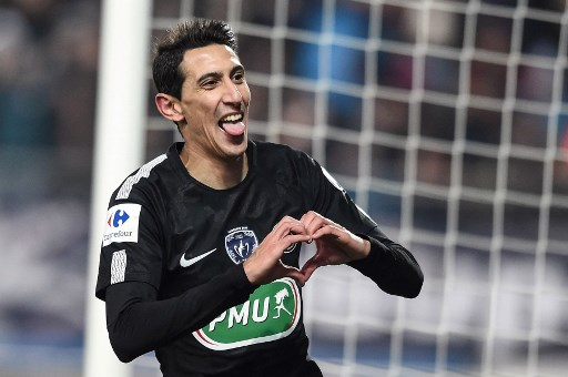 Paris Saint-Germain's Argentinian forward Angel Di Maria celebrates after scoring a goal during the French Cup round of sixteen football match between Sochaux (FCSM) and Paris Saint-Germain (PSG), on February 6, 2018 at the Auguste Bonal stadium in Sochaux. / AFP PHOTO / SEBASTIEN BOZON