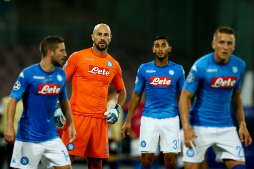 Pepe Reina of Napoli at San Paolo Stadium in Naples, Italy on August 16, 2017 during the UEFA Champions League Qualifying Play-Offs Round First Leg match between SSC Napoli and OGC Nice. (Photo by Matteo Ciambelli/NurPhoto)