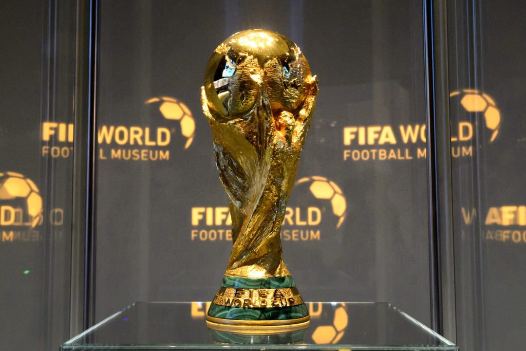 (FILES) This file photo taken on February 28, 2016 shows the World Cup trophy at the FIFA World Football Museum during its inauguration.  FIFA's ruling council on January 10, 2017 unanimously approved an expansion of the World Cup to 48 teams in 2026, with a format of 16 groups of three nations. / AFP PHOTO / FABRICE COFFRINI