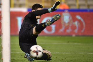 Belgium's goalkeeper Thibaut Courtois fails to stop the penalty from Mexico's Andres Guardado (not pictured) during a friendly soccer game between Belgian national team Red Devils and Mexico, Friday 10 November 2017, in Brugge. BELGA PHOTO DIRK WAEM