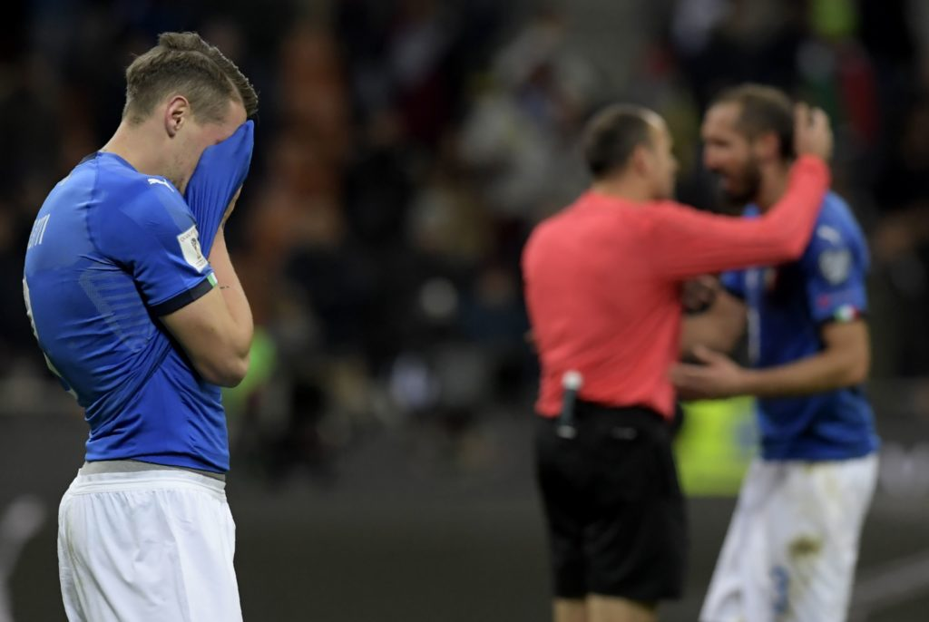 Italy's forward Andrea Belotti reacts at the end of the FIFA World Cup 2018 qualification football match between Italy and Sweden, on November 13, 2017 at the San Siro stadium in Milan. Italy failed to reach the World Cup for the first time since 1958 on Monday as they were held to a 0-0 draw in the second leg of their play-off at the San Siro by Sweden, who qualified with a 1-0 aggregate victory.  / AFP PHOTO / Miguel MEDINA
