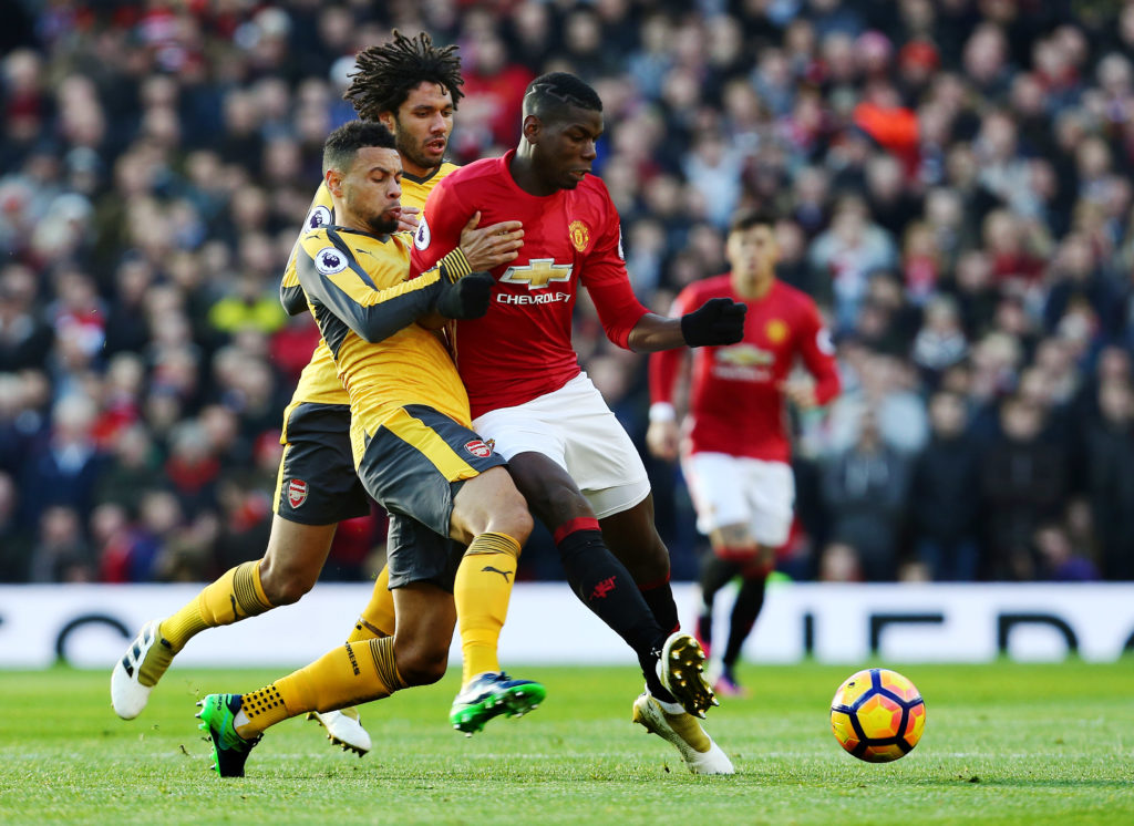 Paul Pogba of Manchester United and Francis Coquelin of Arsenal during the Premier League match between Manchester United and Arsenal played at Old Trafford, Manchester, England, on November 19, 2016 - Photo Matt West / Backpage Images / DPPI