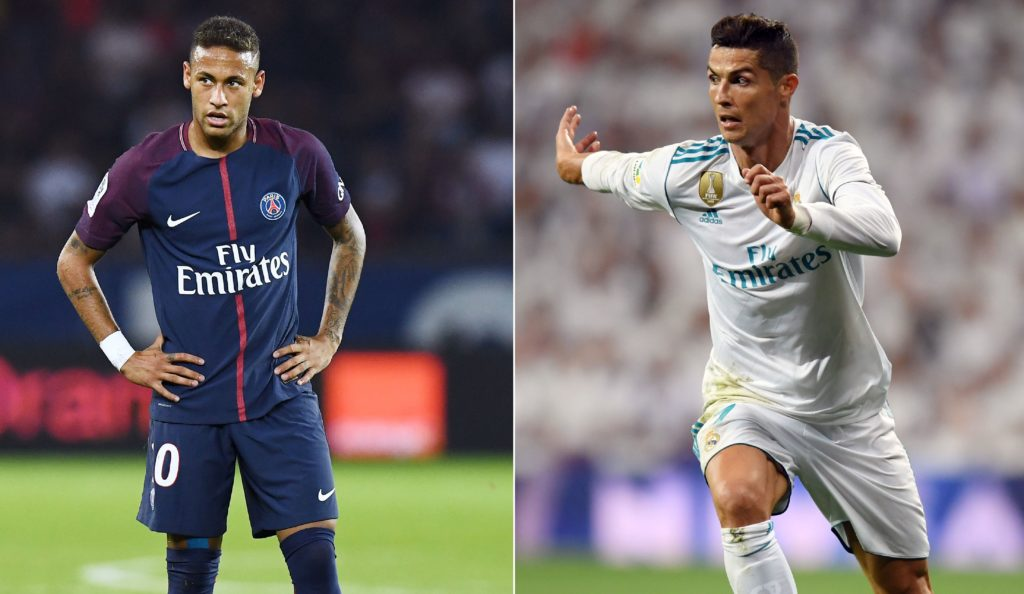 A combination of images shows (L-R) Barcelona's Argentinian forward Lionel Messi, Paris Saint-Germain's Brazilian striker Neymar and Real Madrid's Portuguese forward Cristiano Ronaldo. Neymar was named alongside Cristiano Ronaldo and Lionel Messi on the three-man shortlist for the Best FIFA Men's Player Award, which was announced in London on September 22, 2017. / AFP PHOTO / Lluis GENE