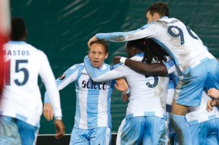 Lazio's Lucas Leiva celebrates after scoring during a soccer game between Belgian club SV Zulte Waregem and Italian club Societa Sportiva Lazio, the sixth and last match of the group stage (Group K) of the UEFA Europa League competition, Thursday 07 December 2017 in Waregem. BELGA PHOTO BRUNO FAHY