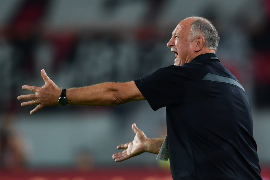 Head coach Luiz Felipe Scolari of Guangzhou Evergrande Taobao reacts in the 27th round match against Yanbian Funde during the 2017 Chinese Football Association Super League (CSL) in Guangzhou city, south China's Guangdong province, 13 October 2017.