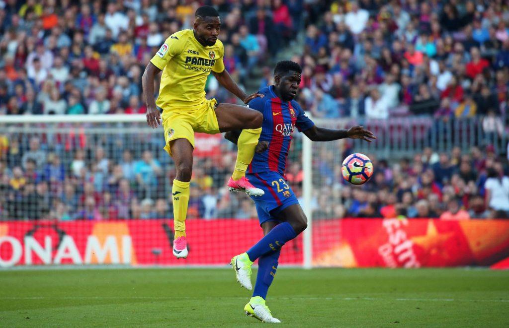 Cedric Bakambu and Samuel Umtiti during the match between FC Barcelona and Villarreal CF, on May 06, 2017. Photo: Joan Valls/Urbanandsport/Nurphoto -- (Photo by Urbanandsport/NurPhoto)