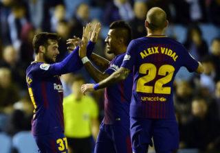 Barcelona's Spanish forward Jose Arnaiz (L) celebrates a goal with teammates during the Spanish Copa del Rey (King's Cup) football match RC Celta de Vigo vs FC Barcelona at the Balaidos stadium in Vigo on January 4, 2018. / AFP PHOTO / MIGUEL RIOPA