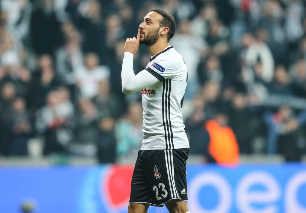 ISTANBUL, TURKEY - NOVEMBER 21: Cenk Tosun of Besiktas celebrates after the UEFA Champions League Group G soccer match between Besiktas and Porto at the Vodafone Park in Istanbul, Turkey on November 21, 2017. Besiktas are guaranteed to top Group G with their point total at 11 after five matches. Salih Zeki Fazlioglu / Anadolu Agency