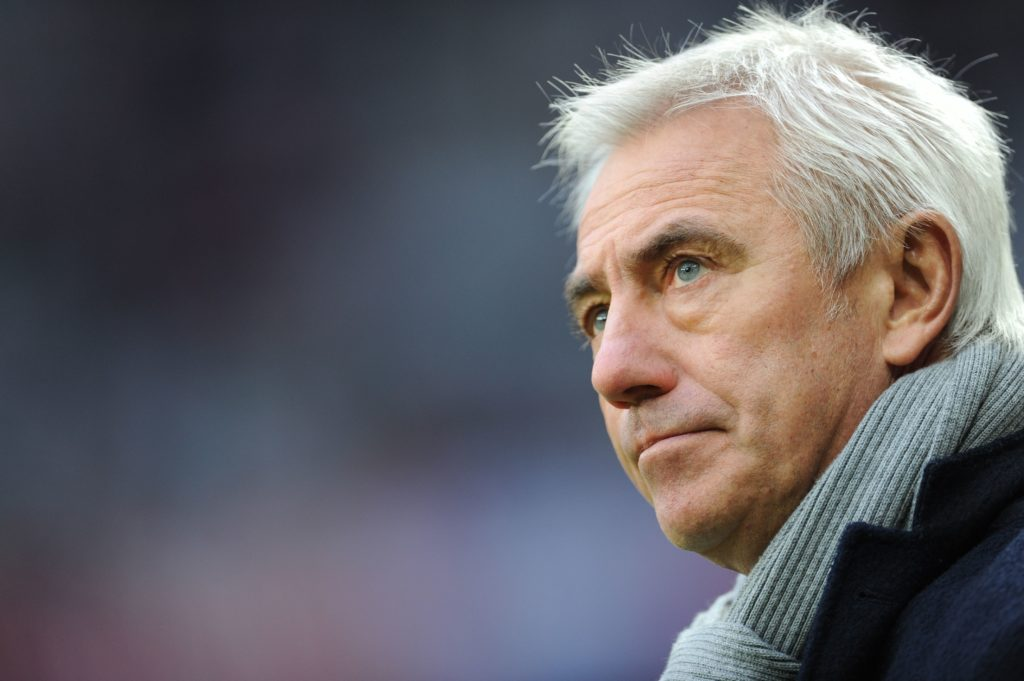 Hamburg's head coach Bert van Marwijk is pictured before the Bundesliga soccer match between Bayern Munich and Hamburger SV at Allianz Arena in Munich, Germany, 14.12.2013. Photo:ANDREAS GEBERT/dpa (ATTENTION: Due to the accreditation guidelines, the DFL only permits the publication and utilisation of up to 15 pictures per match on the internet and in online media during the match.)