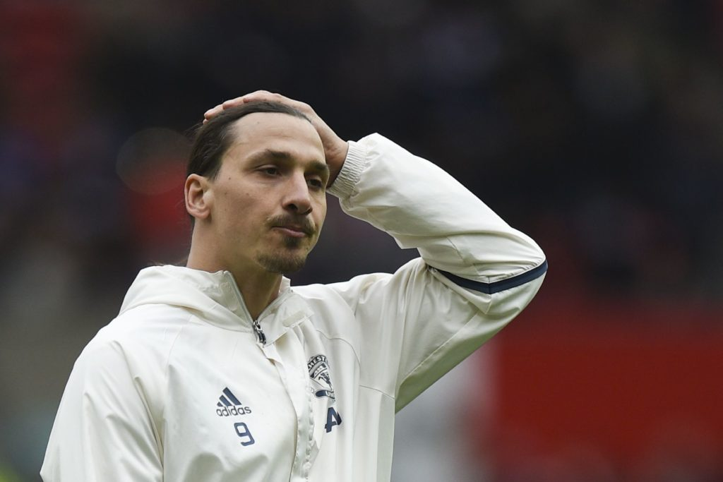 Manchester United's Swedish striker Zlatan Ibrahimovic gestures prior to the English Premier League football match between Manchester United and Chelsea at Old Trafford in Manchester, north west England, on April 16, 2017. / AFP PHOTO / Oli SCARFF / RESTRICTED TO EDITORIAL USE. No use with unauthorized audio, video, data, fixture lists, club/league logos or 'live' services. Online in-match use limited to 75 images, no video emulation. No use in betting, games or single club/league/player publications.  /