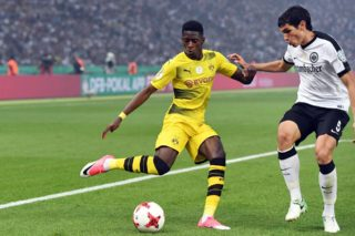 BERLIN, GERMANY - MAY 27 : Ousmane Dembele (L) of Borussia Dortmund in action against Jesus Vallejo of Eintracht Frankfurt during the DFB Cup Final 2017 soccer match between Eintracht Frankfurt and Borussia Dortmund at the Olympia stadium in Berlin, Germany on May 27, 2017.  Maurizio Gambarini / Anadolu Agency