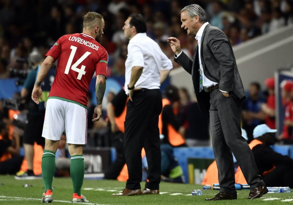 Hungary's Gergo Lovrencsics and Hungary's head coach Bernd Storck pictured during a soccer game between Belgian national soccer team Red Devils and Hungary, in the round of 16 of the UEFA Euro 2016 European Championships, on Sunday 26 June 2016, in Toulouse, France. The Euro2016 tournament is taking place from 10 June to 10 July. BELGA PHOTO DIRK WAEM