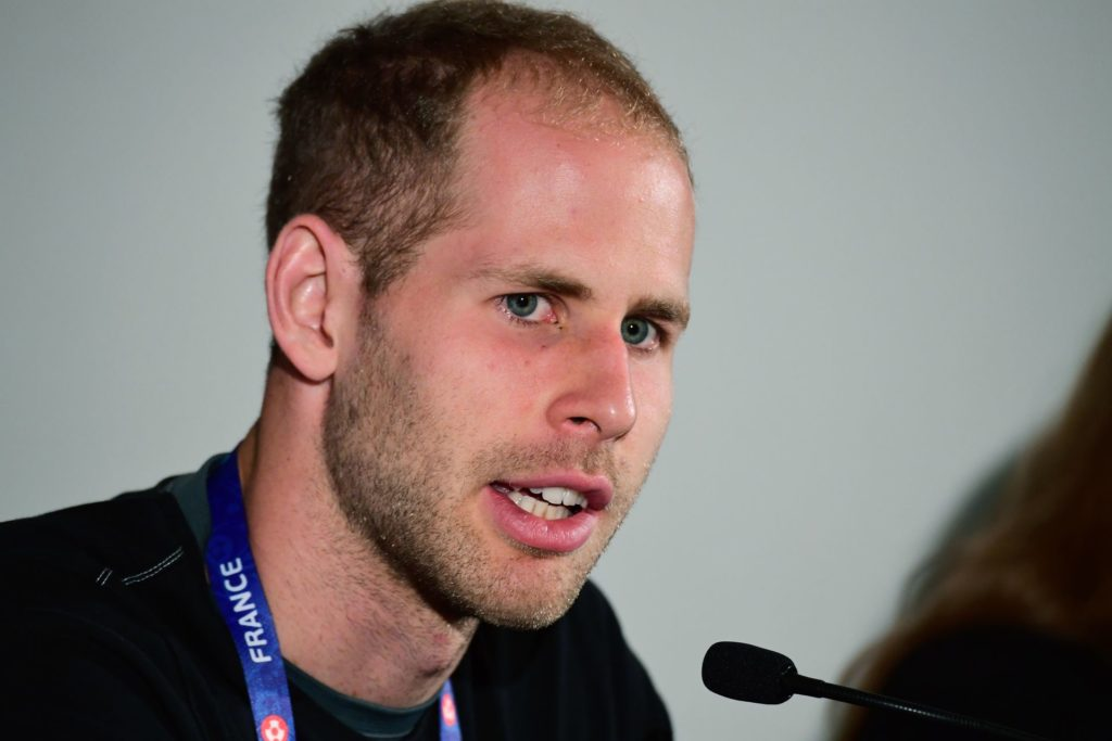 Hungary's goalkeeper Peter Gulacsi is pictured as he addresses a press conference in Montauroux, southern France, on June 16, 2016, during the Euro 2016 football tournament. / AFP PHOTO / ATTILA KISBENEDEK