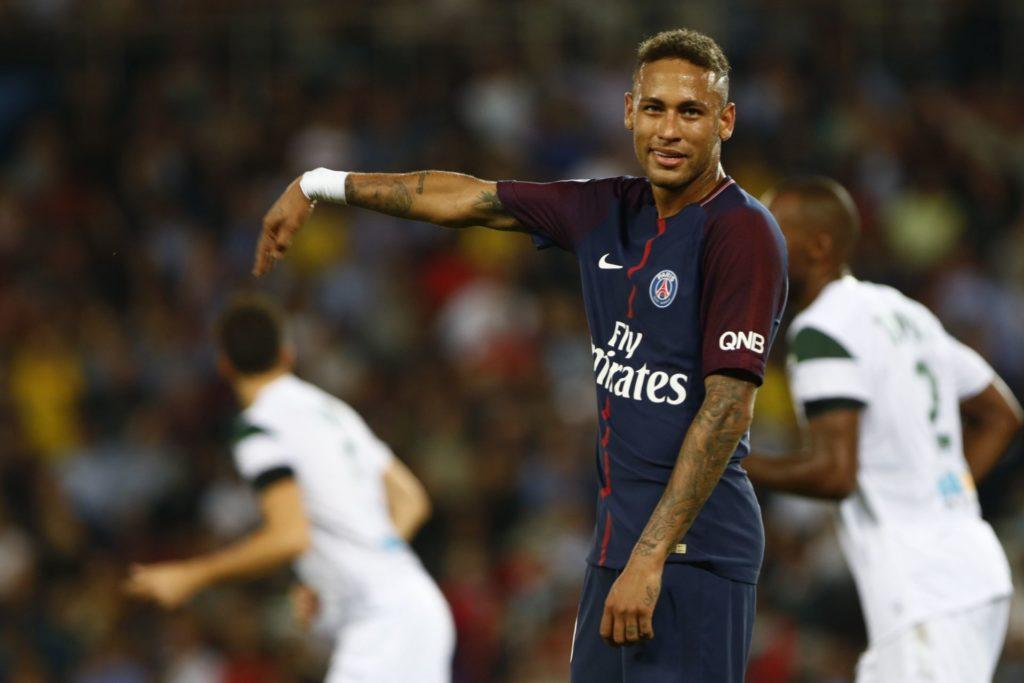 Neymar of Paris Saint-Germain reacts during the Ligue 1 match between Paris Saint-Germain ans AS Saint-Etienne at Parc des Princes on August 25, 2017 in Paris, France.  (Photo by Mehdi Taamallah/NurPhoto)