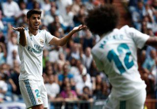 MADRID, SPAIN - SEPTEMBER 09 : Marco Asensio (L) of Real Madrid gestures during the La Liga soccer match between Real Madrid and Levante at Santiago Bernabeu in Madrid, Spain on September 09, 2017. Burak Akbulut / Anadolu Agency