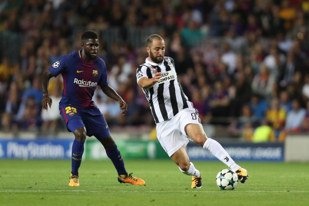 Gonzalo Higuain of Juventus during the UEFA Champions League, Group D football match between FC Barcelona and Juventus FC on September 12, 2017 at Camp Nou stadium in Barcelona, Spain. Photo: Manuel Blondeau/AOP.Press/DPPI