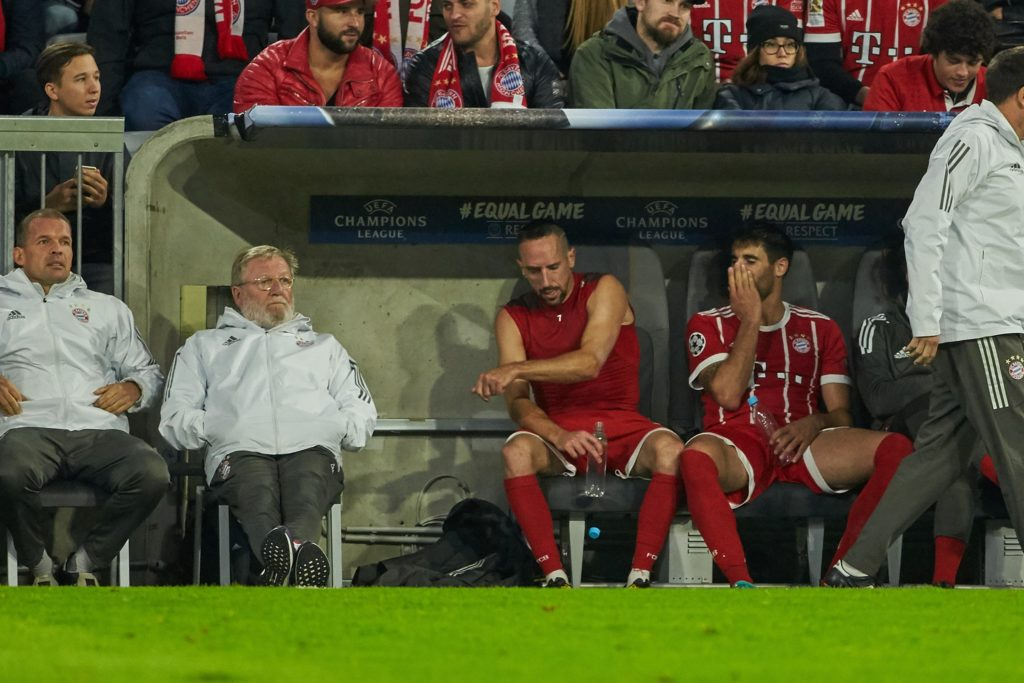 MUNICH, GERMANY - SEPTEMBER 12: Franck Ribery of Bayern Muenchen on the bench during the UEFA Champions League group B match between Bayern Muenchen and RSC Anderlecht at Allianz Arena on September 12, 2017 in Munich, Germany.  DeFodi / Anadolu Agency