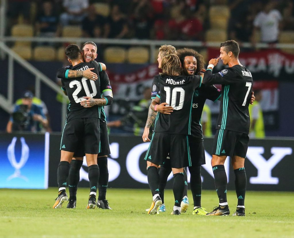 SKOPJE, MACEDONIA - AUGUST 08 : Bale (2nd L), Marco Asensio (20), Modric (10), Marcelo (2nd R) and Ronaldo (7) of Real Madrid celebrate after winning the UEFA Super Cup title in the final match against Manchester United at the Philip II Arena on August 8, 2017 in Skopje, Macedonia. Salih Zeki Fazlioglu / Anadolu Agency