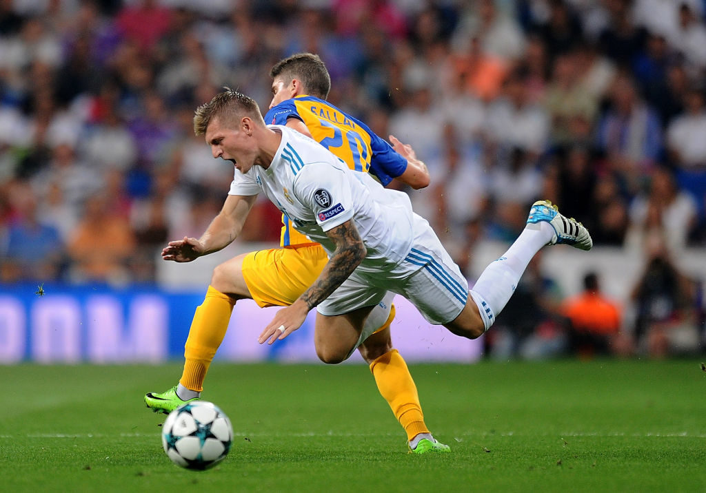 during the UEFA Champions League group H match between Real Madrid and APOEL Nikosia at Estadio Santiago Bernabeu on September 13, 2017 in Madrid, Spain.
