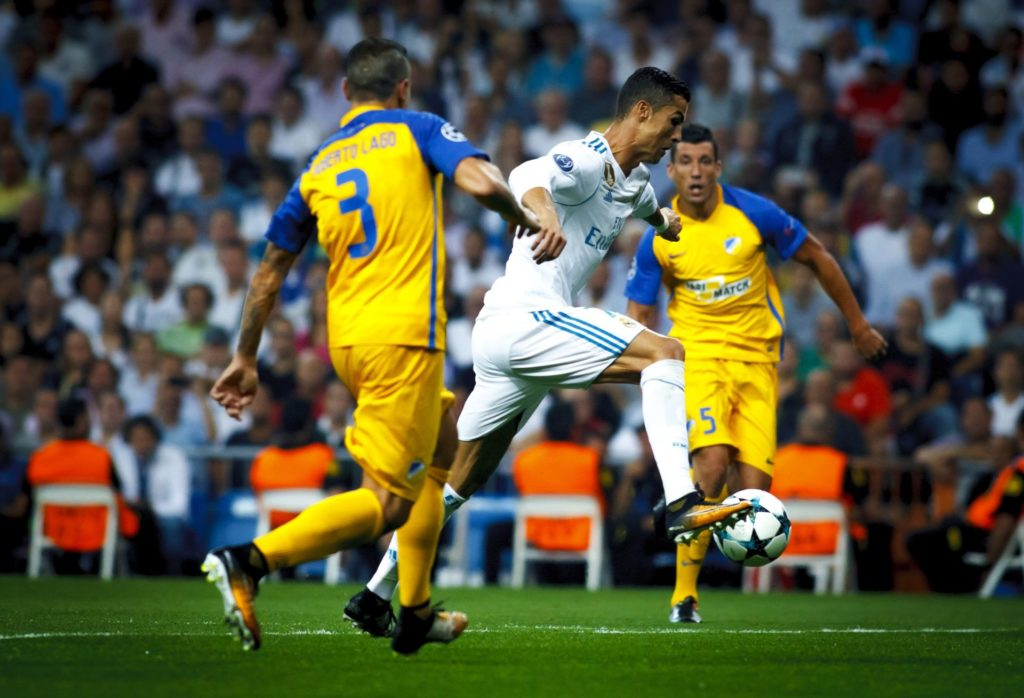 MADRID, SPAIN - SEPTEMBER 13: Cristiano Ronaldo of Real Madrid in action during the UEFA Champions League match between Real Madrid and Apoel, at Santiago Bernabeu Stadium in Madrid on September 13, 2017.  Guillermo Martinez / Anadolu Agency