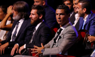 MONTE CARLO, MONACO - AUGUST 24: Cristiano Ronaldo of Real Madrid and Lionel Messi of Barcelona looks on during the UEFA Champions League Group stage draw ceremony, at the Grimaldi Forum, Monte Carlo in Monaco, on August 24, 2017. (Photo by TF-Images/TF-Images via Getty Images)