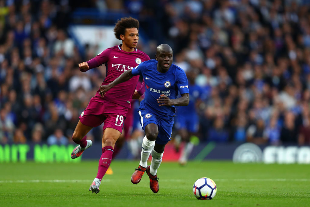 during the Premier League match between Chelsea and Manchester City at Stamford Bridge on September 30, 2017 in London, England.