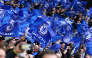 LONDON, ENGLAND - APRIL 22: Chelsea fans with flags during the Emirates FA Cup semi-final match between Tottenham Hotspur and Chelsea at Wembley Stadium on April 22, 2017 in London, England. (Photo by Catherine Ivill - AMA/Getty Images)