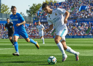 GETAFE, SPAIN - OCTOBER 14:  Marco Asensio of Real Madrid runs with the ball during the La Liga match between Getafe and Real Madrid at Estadio Coliseum Alfonso Perez on October 14, 2017 in Getafe, Spain.  (Photo by fotopress/Getty Images)