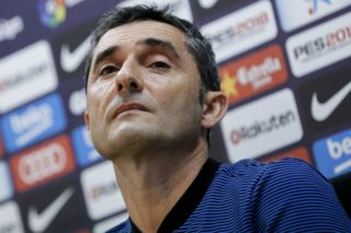 Barcelona's Spanish coach Ernesto Valverde looks on during a press conference at the FC Barcelona's Joan Gamper sports center in Sant Joan Despi, near Barcelona on October 13, 2017, on the eve of a Spanish League football match against Club Atletico de Madrid. / AFP PHOTO / PAU BARRENA