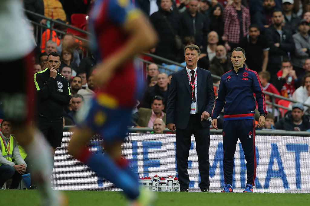 LONDON, ENGLAND - MAY 21: Louis van Gaal Manager / head coach of Manchester United and Ryan Giggs the Assistant Manager of Manchester during The Emirates FA Cup final match between Manchester United and Crystal Palace at Wembley Stadium on May 21, 2016 in London, England. (Photo by Matthew Ashton - AMA/Getty Images)