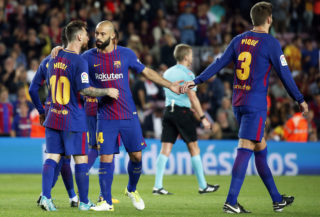 Javier Mascherano and Leo Messi celebration during La Liga match between FC Barcelona v SC Eibar , in Barcelona, on September 19, 2017.  (Photo by Urbanandsport/NurPhoto)