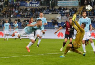 Ciro Immobile kicks gol 2 -0 during the Italian Serie A football match between S.S. Lazio and Cagliari at the Olympic Stadium in Rome, on october 22, 2017. (Photo by Silvia Lore/NurPhoto)