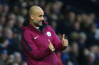 Manchester City's Spanish manager Pep Guardiola during the English Premier League fogestures otball match between West Bromwich Albion and Manchester City at The Hawthorns stadium in West Bromwich, central England, on October 28, 2017.  / AFP PHOTO / Lindsey PARNABY / RESTRICTED TO EDITORIAL USE. No use with unauthorized audio, video, data, fixture lists, club/league logos or 'live' services. Online in-match use limited to 75 images, no video emulation. No use in betting, games or single club/league/player publications.  /