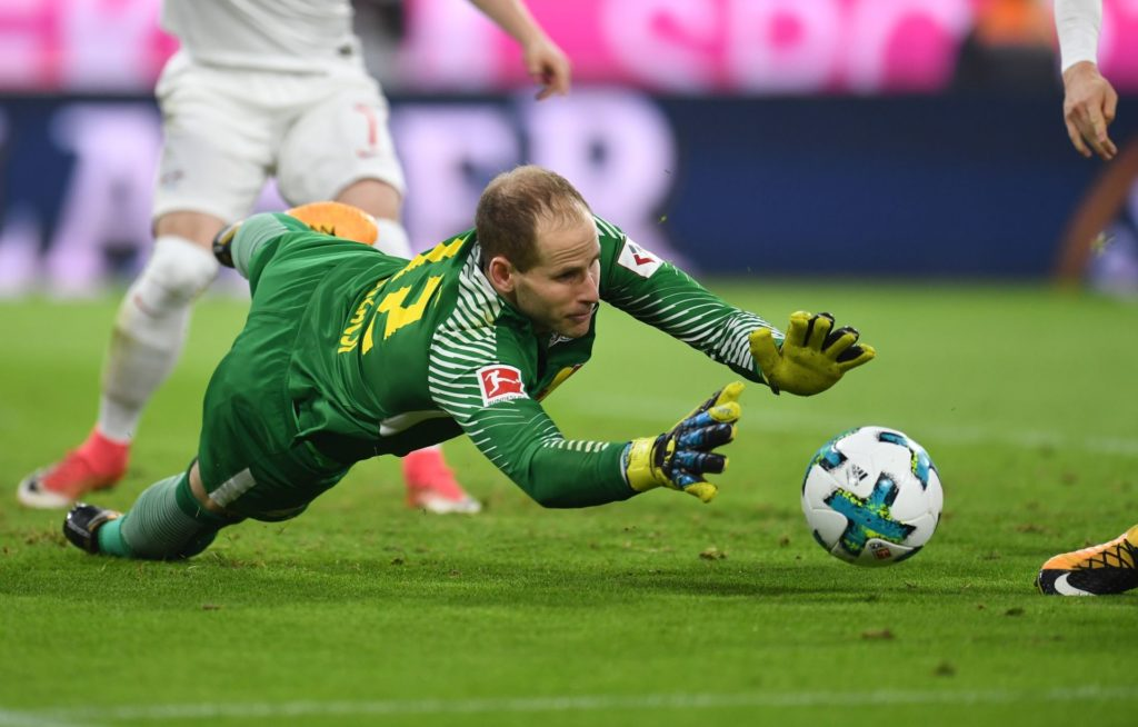 MUNICH, GERMANY - OCTOBER 28: Goalkeeper Peter Gulacsi of Leipzig in action during the German Bundesliga soccer match between FC Bayern Munich and RB Leipzig at Allianz Arena in Munich, Germany, on October 28, 2017.  Andreas Gebert / Anadolu Agency