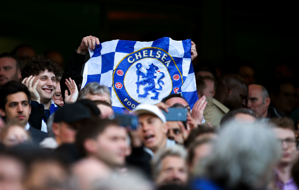 LONDON, ENGLAND - MAY 08: Chelsea fans hold up a flag during the Premier League match between Chelsea and Middlesbrough at Stamford Bridge on May 8, 2017 in London, England. (Photo by Catherine Ivill - AMA/Getty Images)