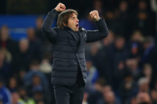 LONDON, ENGLAND - NOVEMBER 05: Antonio Conte manager / head coach of Chelsea celebrates after the Premier League match between Chelsea and Manchester United at Stamford Bridge on November 5, 2017 in London, England. (Photo by Catherine Ivill - AMA/Getty Images)