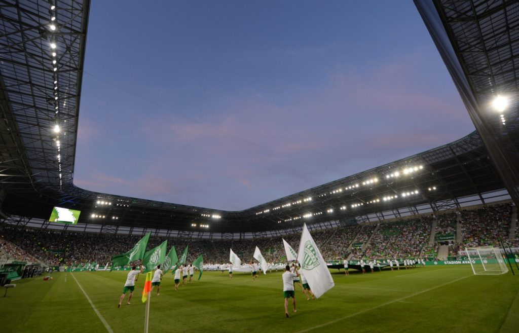 A general view of the Groupama Arena new football stadium in Budapest is seen prior to the first international football match here between the local Hungarian team of TC Ferencvaros and English Premier League club FC Chelsea on August 10, 2014.  AFP PHOTO / ATTILA KISBENEDEK / AFP PHOTO / ATTILA KISBENEDEK