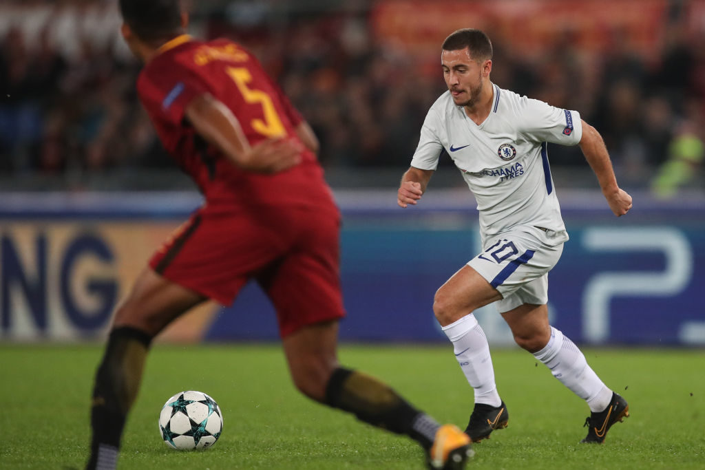 ROME, ITALY - OCTOBER 31: Eden Hazard of Chelsea during the UEFA Champions League group C match between AS Roma and Chelsea FC at Stadio Olimpico on October 31, 2017 in Rome, Italy. (Photo by Robbie Jay Barratt - AMA/Getty Images)