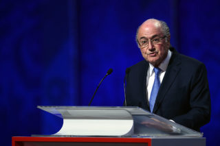 SAINT PETERSBURG, RUSSIA - JULY 25:  FIFA President Joseph S. Blatter speaks during the Preliminary Draw of the 2018 FIFA World Cup in Russia at The Konstantin Palace on July 25, 2015 in Saint Petersburg, Russia.  (Photo by Dennis Grombkowski/Getty Images)