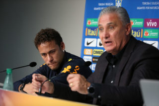 LILLE, FRANCE - NOVEMBER 10: Neymar Jr of Brazil, coach of Brazil Adenor Leonardo Bacchi aka Tite answer to the media during a press conference following the international friendly match between Japan and Brazil at Stade Pierre Mauroy on November 10, 2017 in Lille, France. (Photo by Jean Catuffe/Getty Images)
