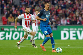 COLOGNE, GERMANY - NOVEMBER 05: Dominic Maroh of FC Koeln and Sandro Wagner of Hoffenheim battle for the ball during the Bundesliga match between 1. FC Koeln and TSG 1899 Hoffenheim at RheinEnergieStadion on November 5, 2017 in Cologne, Germany. (Photo by TF-Images/TF-Images via Getty Images)