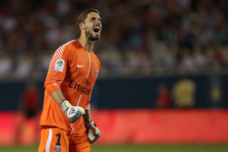 ORLANDO, FL - JULY 22: Kevin Trapp of Paris Saint-Germain celebrates during the International Champions Cup match between Paris Saint-Germain and Tottenham Hotspur on July 22, 2017 in Orlando, United States. (Photo by Robbie Jay Barratt - AMA/Getty Images)